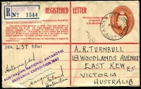 "Lot 415 [2 of 5]:1947-48 Covers from Macquarie Island (7) all with AUSTRALIAN NATIONAL ANTARCTIC RESEARCH EXPEDITION 1947 cachet, with 4 registered incl 5½d stationery envelope, few FDCs, also 2 covers from Heard Island (one with 'CELEBRATING FORMATION OF THE FIRST POST OFFICE AT HEARD ISLAND...) some covers addressed to Rex Bodin, R. Haslem, Victoria Stamp Mart, Elwood, etc, and several endorsed ""per (HMAS) LST 3501"". Generally fine. (9)"