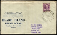 "Lot 415 [1 of 5]:1947-48 Covers from Macquarie Island (7) all with AUSTRALIAN NATIONAL ANTARCTIC RESEARCH EXPEDITION 1947 cachet, with 4 registered incl 5½d stationery envelope, few FDCs, also 2 covers from Heard Island (one with 'CELEBRATING FORMATION OF THE FIRST POST OFFICE AT HEARD ISLAND...) some covers addressed to Rex Bodin, R. Haslem, Victoria Stamp Mart, Elwood, etc, and several endorsed ""per (HMAS) LST 3501"". Generally fine. (9)"