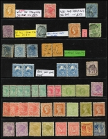 Lot 294 [2 of 3]:Accumulation from NSW incl imperf 1853 3d, few optd 'OS', SA 1891-93 5d on 6d (7, incl block of 4 with 3 units MUH), Vic incl 9d on 10d, 8d on 9d, few mounted issues, few 'STAMP/DUTY' opts, Postage Dues, etc. Condition mixed. (150+)