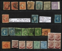 Lot 294 [3 of 3]:Accumulation from NSW incl imperf 1853 3d, few optd 'OS', SA 1891-93 5d on 6d (7, incl block of 4 with 3 units MUH), Vic incl 9d on 10d, 8d on 9d, few mounted issues, few 'STAMP/DUTY' opts, Postage Dues, etc. Condition mixed. (150+)