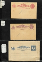 Lot 297 [2 of 3]:Postal Stationery Collection from Queensland Postal Cards incl 1889-91 1d, 2d & 3d also 1d & 3d both handstamped 'SPECIMEN', 1891-92 1½d+1½d Reply card, 1890-96 PTPO group 1d (3), 2d (3), South Australia 1883 1d+1d with Reply card, 1893-98 1d (2, one opts 'OS'), also 2 unused Zieher cards, Western Australia 1879 1½d Postal Card, 1893 1½d on 3d green. Generally fine, all unused. (25)