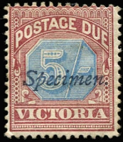 Lot 298 [1 of 2]:Specimen Selection from New South Wales Optd 1860-72 6d mauve, 1892-99 ½d grey, 1897-88 1d Shield, 2½d, 1891 'OS' 12½d on 1/-, Postage Dues 1891-97 6d ('Specimen'), 8d ('SPECIMEN'), Queensland 1868-74 1d, 2d, 3d & 6d diagonally handstamped 'SPECIMEN', South Australia Optd on 1883-89 3d, 4d & 6d, 1891-93 2½d on 4d, 5d on 6d, also 2/-, Victoria handstamped on Postage Dues 1890-94 2d, 10d, 1/-, 2/-, 5/-, also Australia Optd on 1902 Adapted from NSW Plates 1d (opt reading up), 2d & 8d. Mixed condition as usual, several reprints noted. (27)
