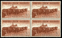 Lot 350 [1 of 3]:Oddments incl Christmas Island 1963 Picts (10), Norfolk Island 1960 2/8d Local Gov't, PNG 1952-58 2/- Masks (5, incl block of 4), 1958-60 1/7d Cattle (5, incl block of 4) etc. (44)