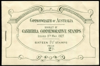 Lot 868:1927 Canberra Booklet BW #B38, very fresh, Cat $125.