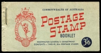 Lot 925:1953-57 3/6d 3½d No wmk red, Wax interleaving (stapled). BW #B58v, Cat $150.