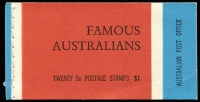 Lot 241:1968 Famous Australians $1 Booklets Editions 'N68/3', 'V68/3', 'V68/4, 'V69/1' plus BW #B130Fv Edition 'G68/4' with wax interleaving. BW #B130, Cat $190+. (5)