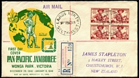 Lot 694 [1 of 2]:Bergen 1948 Scout 2½d block of 4, on registered airmail Wide World cover to James Stapleton in New Zealand with 'LARG'S NORTH' provisional label and added printed date by Arthur Bergen plus 2-colour illustrated card hand printed by Arthur Bergen with stamp issue details. (2)
