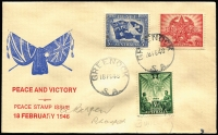 "Lot 567 [1 of 2]:Bergen 1946 Peace/Victory set on hand painted cacheted cover, from GREENOCK addressed in pencil to A. Bergen/Prospect, and signed on the back ""Arthur Bergen/18.2.46"" in blue ink. [His earliest recorded Australian cover]"