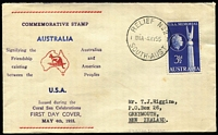 Lot 619:Bergen 1955 Australian-American Friendship tied to hand-printed FDC by 'RELIEF No.2/1015A-4MY55/SOUTH-AUST' cds to New Zealand.