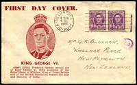 Lot 690:Haslem 1944 KGVI 2d pair on illustrated uncensored FDC to New Zealand.