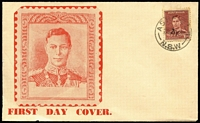 Lot 862:Haslem 1938 KGVI 1½d maroon on unaddressed red illustrated cover, minor blemishes.