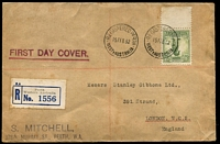 Lot 865:Mitchell 1932 1/- Lyrebird on plain registered FDC from Perth (with Mitchell rubber stamped address, lower left) to Stanley Gibbons, London. Minor blemishes.