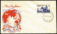 Lot 644:Unidentified 1949 UPU 3½d on generic FDC. 'LARGS NORTH' cds. Rare cachet.