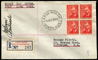 Lot 589:Wesley 1948 Farrer 2½d block of 4 on plain registered cover with 'LARGS NORTH' provisional label and signed JMGower/Postmaster.