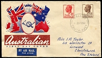 Lot 713:Wide World 1952 KGVI 4½d & 6½d on illustrated FDC (with rare use of envelope for planned Royal Visit) with text covered by airmail label to New Zealand.