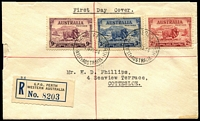 Lot 878 [1 of 2]:1934 (Nov 1) Macarthur set on plain registered cover from Perth. Minor defects.