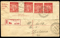 Lot 715:1935 (Mar 18) ANZAC 2d imprint pair & Pl No. 1 pair on registered plain FDC to Mildura with red 'Market St. Melb./Victoria' label.