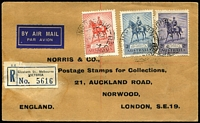 Lot 879 [1 of 2]:1935 (May 2) Jubilee set on registered plain airmail FDC (Norris & Co, UK) from Melbourne to UK with arrival cds on reverse. Blemishes.