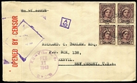 Lot 880:1943 Queen Elizabeth 1d block of 4 on plain FDC to USA with 'OPENED BY CENSOR' tape, Censor markings & US arrival cds.