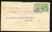 Lot 281 [2 of 10]:WWII Censored Covers from Qld, NSW (9), Vic (3), WA, & Tas, with range of labels, handstamps. Destinations incl Canada, GB, Northern Rhodesia, Switzerland (also with German Censor tape on reverse), USA, plus selection of Military (RAAF or Army) censored covers, plus 1915 uncensored flapless cover to USA with 2d Roo & ½d green KGV. Mixed condition. (30+)