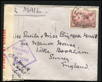 Lot 281 [3 of 10]:WWII Censored Covers from Qld, NSW (9), Vic (3), WA, & Tas, with range of labels, handstamps. Destinations incl Canada, GB, Northern Rhodesia, Switzerland (also with German Censor tape on reverse), USA, plus selection of Military (RAAF or Army) censored covers, plus 1915 uncensored flapless cover to USA with 2d Roo & ½d green KGV. Mixed condition. (30+)