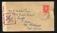 Lot 281 [1 of 10]:WWII Censored Covers from Qld, NSW (9), Vic (3), WA, & Tas, with range of labels, handstamps. Destinations incl Canada, GB, Northern Rhodesia, Switzerland (also with German Censor tape on reverse), USA, plus selection of Military (RAAF or Army) censored covers, plus 1915 uncensored flapless cover to USA with 2d Roo & ½d green KGV. Mixed condition. (30+)