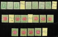 Lot 302 [2 of 2]:1902-36 Selection incl 1902 (from NSW Plates) 2d, 3d & 4d, 1902-04 ½d, 5d, 10d & 1/-, 1913-23 Thin paper 1/- with misplaced centre (MLH), 1931-36 CofA wmk P11 3d, 1/-. Mixed condition throughout (18)