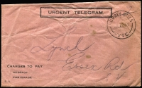 Lot 266 [2 of 6]:1924-50s Telegram Envelopes Accumulation with different types incl 1924 'Urgent Telegram' env (C.31), 1928 similar type (2), later blue type T.G. 65 (5, incl one with serifs), T.G. 65 (no serifs, most with TELEPHONED TELEGRAM/DELIVERED BY POST'' & boxed INTERNATIONAL' handstamps), green T.G. 65H with printed 'CONFIRMATION COPY/DELIVER BY POST' (12), OTC International Telegram envelopes (16), with similar handstamp, also several Greetings envelopes. Duplication at places. Mixed condition. (Approx 50 items)