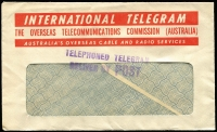 Lot 266 [3 of 6]:1924-50s Telegram Envelopes Accumulation with different types incl 1924 'Urgent Telegram' env (C.31), 1928 similar type (2), later blue type T.G. 65 (5, incl one with serifs), T.G. 65 (no serifs, most with TELEPHONED TELEGRAM/DELIVERED BY POST'' & boxed INTERNATIONAL' handstamps), green T.G. 65H with printed 'CONFIRMATION COPY/DELIVER BY POST' (12), OTC International Telegram envelopes (16), with similar handstamp, also several Greetings envelopes. Duplication at places. Mixed condition. (Approx 50 items)