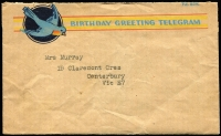 Lot 266 [1 of 6]:1924-50s Telegram Envelopes Accumulation with different types incl 1924 'Urgent Telegram' env (C.31), 1928 similar type (2), later blue type T.G. 65 (5, incl one with serifs), T.G. 65 (no serifs, most with TELEPHONED TELEGRAM/DELIVERED BY POST'' & boxed INTERNATIONAL' handstamps), green T.G. 65H with printed 'CONFIRMATION COPY/DELIVER BY POST' (12), OTC International Telegram envelopes (16), with similar handstamp, also several Greetings envelopes. Duplication at places. Mixed condition. (Approx 50 items)