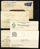 Lot 268 [3 of 3]:1939-70s Advertising Envelope accumulation with many illustrated covers, some postal stationery items, meters (40), Paids (50), slogans (70+), etc. Several 'Motor' related. Generally fine. (180+)