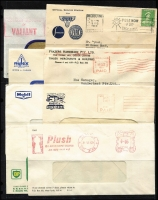 Lot 268 [1 of 3]:1939-70s Advertising Envelope accumulation with many illustrated covers, some postal stationery items, meters (40), Paids (50), slogans (70+), etc. Several 'Motor' related. Generally fine. (180+)