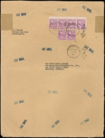 "Lot 307 [2 of 4]:1946-47 Inwards Commercial Covers to BHP in Melbourne from Belgium, Barbados at 4/2d rate, Brazil with 'BY AIR MAIL UNTIL USA' cachet in red, Ceylon, Egypt (2), Fiji, India, New Zealand 5 large airmail covers with rates incl 2/11d, 5/-, 5/5d, and 6/- with mss ""Late Fee"", South Africa (2), USA 5 large AIRMAIL covers incl one with $1 Wilson strip of 5, other rates incl 75c, $1.50, $3 & 3.50. Mixed condition. (23)"