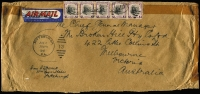 "Lot 307 [3 of 4]:1946-47 Inwards Commercial Covers to BHP in Melbourne from Belgium, Barbados at 4/2d rate, Brazil with 'BY AIR MAIL UNTIL USA' cachet in red, Ceylon, Egypt (2), Fiji, India, New Zealand 5 large airmail covers with rates incl 2/11d, 5/-, 5/5d, and 6/- with mss ""Late Fee"", South Africa (2), USA 5 large AIRMAIL covers incl one with $1 Wilson strip of 5, other rates incl 75c, $1.50, $3 & 3.50. Mixed condition. (23)"