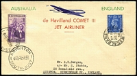 Lot 920 [1 of 2]:1955 (Dec 6) De Havilland Comet III flight cover to UK with Arthur Bergen hand-printed cachet on envelope. UK arrival datesamps.