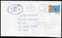 Lot 275 [3 of 7]:1970s-90s Covers to International Youth Service, Finland with selection of many rates on 1978-80 Birds (39), 1981-83 Wildlife (120), 1984-86 Marine Life (51), 1988-95 Living Together (47), 1989-94 Sport (30). Numerous values, several 'Tax' covers Generally fine. (Approx 300)