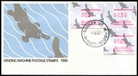 Lot 754:1987 (Jul 1) Platypus Frama rate increase button set 37c, 53c & $1 on unaddressed PO Platypus FDC envelopes. Comprises Gouger St, Adelaide, Canberra & Melbourne. (4)