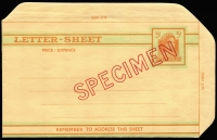 Lot 309:1961-66 5d Orange & Light Emerald Green optd 'SPECIMEN' in red, BW #LSP1Aw, plus normal unused lettersheet. Cat $75. (2)