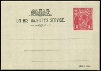 Lot 835 [1 of 2]:1916(?) 1d Red KGV Sideface Dotted 'OS' with 'OS' in colourless dots (as BW #PO2 Type 2) for School Committee with text & Coat of Arms in black, unused. Unlisted in BW Catalogue.