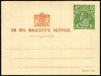 Lot 837 [3 of 3]:1924-30 1d Green KGV Sideface (2), one with 'OS' on colourless dots (as BW #PO5A), the other with 'OS' in solid engraving (as BW #PO6), both issued for School Committee and showing Coat of Arms that appears on 'THREE/HALFPENCE' on 1d issues. Unlisted in BW Catalogue. Minor blemishes. (2)
