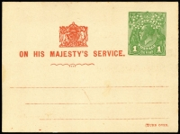 Lot 837 [1 of 3]:1924-30 1d Green KGV Sideface (2), one with 'OS' on colourless dots (as BW #PO5A), the other with 'OS' in solid engraving (as BW #PO6), both issued for School Committee and showing Coat of Arms that appears on 'THREE/HALFPENCE' on 1d issues. Unlisted in BW Catalogue. Minor blemishes. (2)