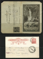 Lot 250 [2 of 3]:KGV-QE Accumulation: incl Postal card 1d full face, Lettercards incl 1911-25 Full face 1d (3), Roo 1d, KGV Sideface (2), all with scenic views, various QE lettercards, few Newspaper wrappers, aerogrammes, small array of Colonial stationery incl NSW, Tas with 1d postal cards (15) mint or used, incl 1d card used as a 1904 Christmas greeting card, and another with a painted river scene. Victoria incl Havelock card unused. WA 1½d on 3d Postal card (2, unused). Mixed condition. (Approx 90 items)