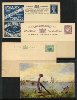 Lot 250 [1 of 3]:KGV-QE Accumulation: incl Postal card 1d full face, Lettercards incl 1911-25 Full face 1d (3), Roo 1d, KGV Sideface (2), all with scenic views, various QE lettercards, few Newspaper wrappers, aerogrammes, small array of Colonial stationery incl NSW, Tas with 1d postal cards (15) mint or used, incl 1d card used as a 1904 Christmas greeting card, and another with a painted river scene. Victoria incl Havelock card unused. WA 1½d on 3d Postal card (2, unused). Mixed condition. (Approx 90 items)