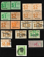 Lot 338 [2 of 2]:Accumulation with Qld, NSW & Victoria incl 90c (24, incl 18 [in blocks of 6] MUH), $2 (5), also $20 Departure Tax label. Mixed condition. (56 items).