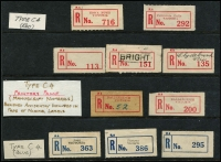 Lot 361 [2 of 6]:Most States Represented: on 35+ Hagners with good range of early labels, some in multiples, many identified by Type, many reds, blues & blacks, provisionals incl Vic 1934 Princes Pier, 1936 Showgrounds, various handwritten, blank, rubber stamped, typed, short, flat or curved numerals, narrow 'No', fancy 'No', 'Special Event' labels1937 Air Mail Exhib, many Philatelic Exhibitions, Red WA labels, Compensation labels, pair of provisional 'Pay Train, Trans. Railway' labels, few Northern Territory, range of red RAAF labels, etc. Genenrally fine. (100s & 8 covers)
