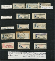 Lot 361 [3 of 6]:Most States Represented: on 35+ Hagners with good range of early labels, some in multiples, many identified by Type, many reds, blues & blacks, provisionals incl Vic 1934 Princes Pier, 1936 Showgrounds, various handwritten, blank, rubber stamped, typed, short, flat or curved numerals, narrow 'No', fancy 'No', 'Special Event' labels1937 Air Mail Exhib, many Philatelic Exhibitions, Red WA labels, Compensation labels, pair of provisional 'Pay Train, Trans. Railway' labels, few Northern Territory, range of red RAAF labels, etc. Genenrally fine. (100s & 8 covers)