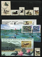 Lot 337 [2 of 2]:Hunting Licence: with NT 1991-92 $10 Duck affixed to Kakadu Park ticket, 1995-96 $15 Geese stamp affixed to Park tickets (2); Victoria incl 1979 Shooter's Licence with $12 of Hunting stamps affixed, 1981 Fish & Wildlife $10 Deer (5, incl block of 4, all MUH), also few Canada & US items. Generally fine. (32 items)