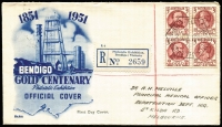 Lot 292 [1 of 6]:Australian Stamp Exhibitions: 1932-73 Group incl 1932 Aust. Phil. Exhibition, Sydney, green cancel (2 covers), 1936 Queensland Phil. Soc. Exhibition 1st day Exhibition cancel (24 Sep), 1951 Bendigo Philatelic Exhibition registered (special lablel) blue Wide World FDC with 'First Day Cover' opt at base [this only appears on 'blue' FDC] & block of 4 Hargraves/Latrobe cancelled with Exhibition FD cancel, 1953 BRIPEX, Brighton cover, 1955 ANPEX Adelaide with red commem cancel, 1959 ANPEX, Sydney (2 with souvenir labels), 1966 WAPEX II, Perth registered (with special label), 1973 Copernicus/Polphil'73' cancel. Mixed condition. (14 items)