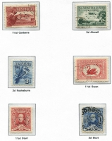 Lot 138 [2 of 4]:1913-65 Collection in Seven Seas hingeless album with range of Roos to 2/- (3), perf Large 'OS' various to 1/-, perf Small 'OS' various to 2/- brown, KGV Heads mixed wmks to 1/4d (4), perf 'OS' range to 1/4d, optd 'OS' to 5d, few commems perf or optd 'OS' incl Kingsford Smith & Bridge sets, 1934 Vic Centenary (2 sets), 1935 ANZAC (2), Jubilee (3), 1938-49 Robes, 1949-56 Arms (4), most QEII incl 1963-64 Navigators to £2 (7/6d MUH), few BCOF, etc. Condition is mixed throughout. (400+)