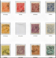 Lot 138 [1 of 4]:1913-65 Collection in Seven Seas hingeless album with range of Roos to 2/- (3), perf Large 'OS' various to 1/-, perf Small 'OS' various to 2/- brown, KGV Heads mixed wmks to 1/4d (4), perf 'OS' range to 1/4d, optd 'OS' to 5d, few commems perf or optd 'OS' incl Kingsford Smith & Bridge sets, 1934 Vic Centenary (2 sets), 1935 ANZAC (2), Jubilee (3), 1938-49 Robes, 1949-56 Arms (4), most QEII incl 1963-64 Navigators to £2 (7/6d MUH), few BCOF, etc. Condition is mixed throughout. (400+)